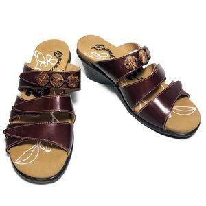 Romika Maui Brown Leather Wedge Slides Sandals